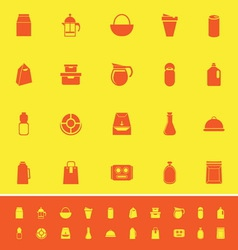Variety food package color icons on yellow vector