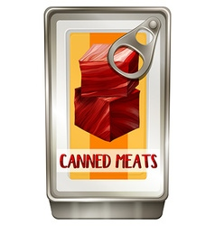 Can of red meat vector