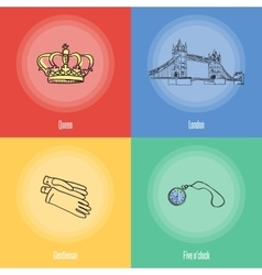 British national symbols icons set vector