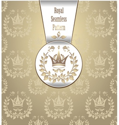 Royal seamless pattern with crown wreath light vector image
