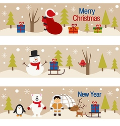 Set of horizontal banners with christmas trees and vector