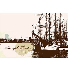 Rustic ship background with text space vector