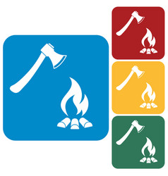 The ax and campfire icon vector