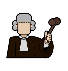 Judge wearing white wig and holding gavel law and vector