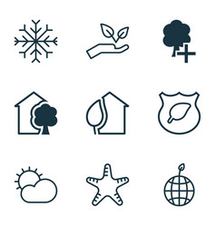 Set of 9 eco icons includes guard tree world vector