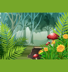 Forest scene with trees and flowers vector
