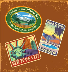 vintage travel stickers 2 vector image