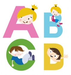 Boy and girl with alphabet vector