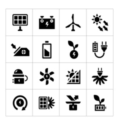 Set icons of alternative energy sources vector