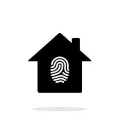 Fingerprint home secure icon on white background vector