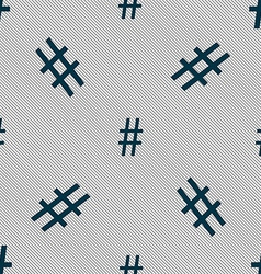 Hash tag icon seamless pattern with geometric vector