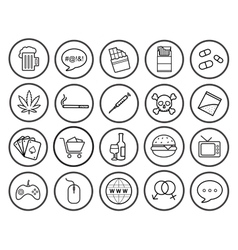 Bad habits linear icons set vector