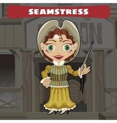 Cartoon character of wild west - seamstress vector