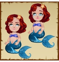 Mermaid girl with two different emotions vector