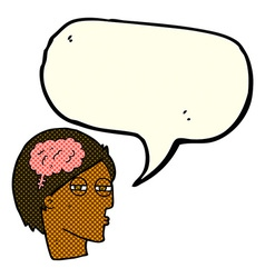 Cartoon man thinking carefully with speech bubble vector
