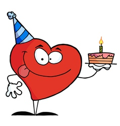 Red heart birthday character wearing a hat vector