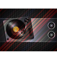 Record deck and speaker on metallic background vector