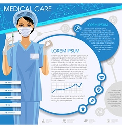Medical template with a nurse girl vector