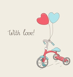 Tricycle and two heart-shaped balloons vector