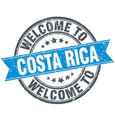 Welcome to costa rica blue round vintage stamp vector