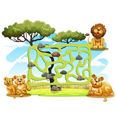 Game template with lions in the field vector