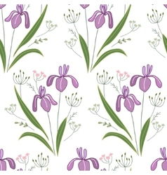 Seamless pattern with stylized cute irises vector