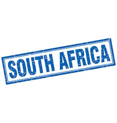 South africa blue square grunge stamp on white vector