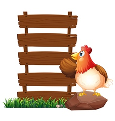 A hen beside the empty signboards vector image