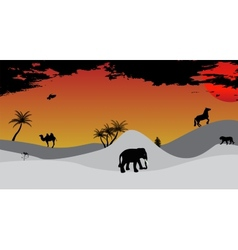 Africa Safari Tree Wild Animals vector image