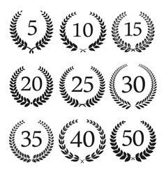 Anniversary and jubilee laurel wreaths icons vector