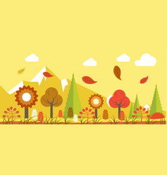 Autumn landscape colorful poster in graphic vector