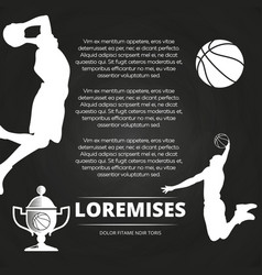 basketball tournament background with athlete vector image