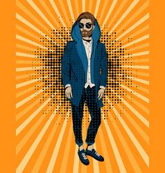 Bearded hipster man portrait pop art vector