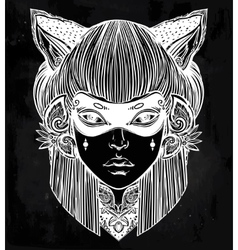 Beautiful woman in a mask with cat ears portriat vector