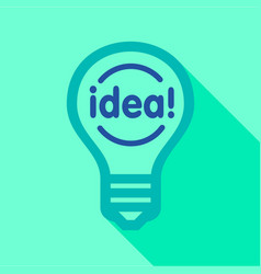 Blue light bulb with word idea inside icon vector
