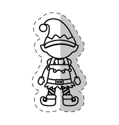 christmas character elve cut line vector image vector image