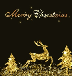 Christmas shining background with golden deer vector