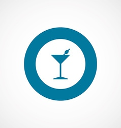 Cocktail bold blue border circle icon vector