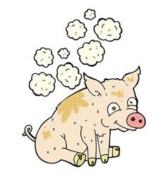 comic cartoon smelly pig vector image