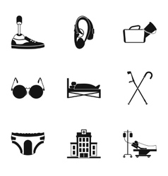 Disability icons set simple style vector