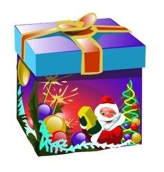 Gift box in Christmas style with Santa Claus vector image