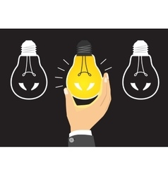 glowing yellow light bulb after being turned on vector image vector image