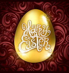golden egg happy easter with decorative red vector image
