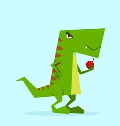 green dino in action 08 vector image vector image