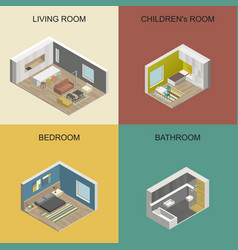 Isometric rooms vector