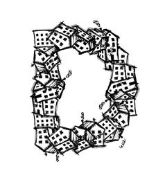 Letter d made from houses alphabet design vector