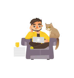 Man working from home freelancer laptop and cat vector