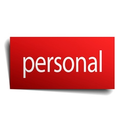 Personal red square isolated paper sign on white vector