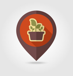 plant in pot flat pin map icon garden flowerpot vector image