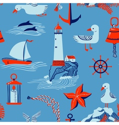 seamless pattern with marine issues vector image
